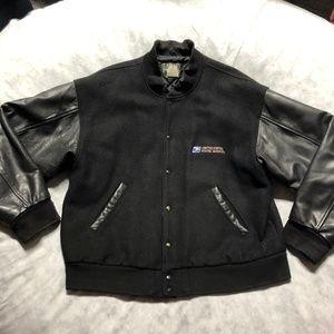 USPS Leather Bomber Varsity Jacket Lamasz Sport